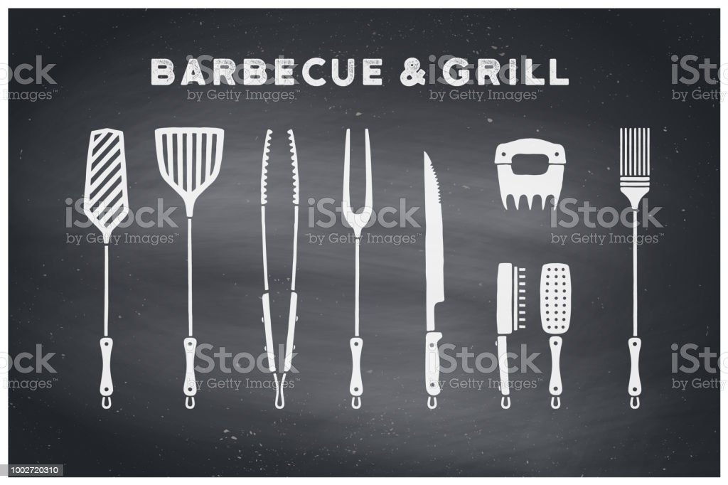 Barbecue and grill tools vector art illustration