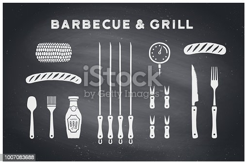Barbecue, grill set. Poster bbq diagram and scheme - barbecue grill tools. Set of bbq stuff, tools for steak house, restaurant, kitchen poster. Black chalkboard, hand drawn, chalk. Vector illustration