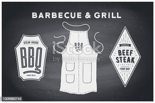 Barbecue, grill set. Poster bbq diagram and scheme - barbecue grill tools. Set of bbq stuff, apron, brand label of steak grill house. Black chalkboard, hand drawn, chalk. Vector illustration