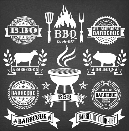 Barbecue Badges and Banners on Black Chalkboard