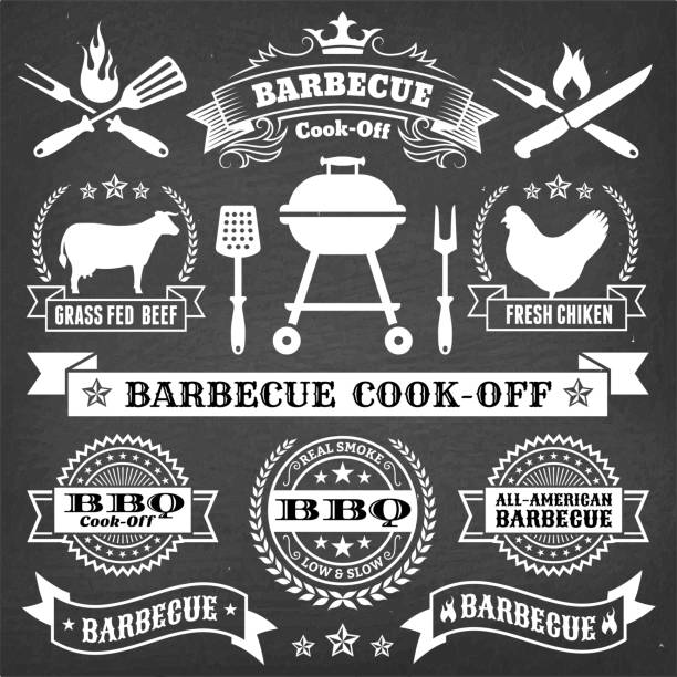 Barbecue Badges and Banners on Black Chalkboard Barbecue Badges and Banners on Black Chalkboard. This royalty free vector illustration features a set of Christaian Religious Crosses in white color on a dark chalkboard. Each 100% vector design element can be used independently or as part of this royalty free graphic set. The blackboard has a slight texture. cooking competition stock illustrations