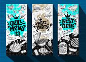 Barbecue banner posters grilled food, sausages, chicken, french fries, steaks, fish, grill BBQ party. Set trendy sketch style cards typography chalkboard. Hand drawn vector illustration.