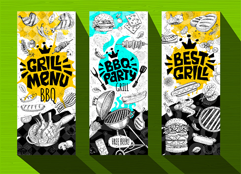 Barbecue banner posters grilled food, sausages, chicken, french fries, steaks, fish, BBQ grill party.