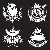 collection of four barbecue banners