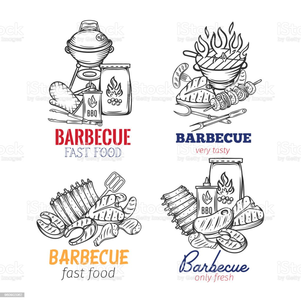 Barbecue banners vector art illustration
