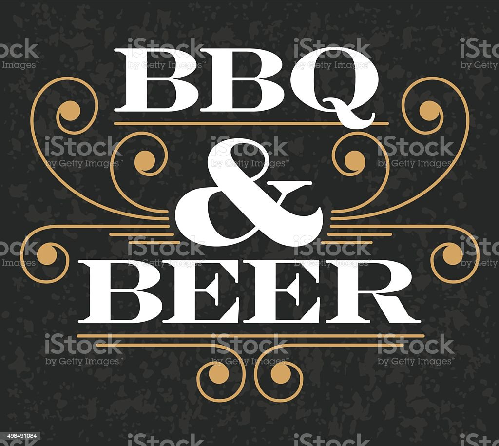 Barbecue & Beer Emblem vector art illustration