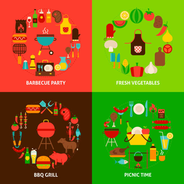 grillset konzepte - roastbeef stock-grafiken, -clipart, -cartoons und -symbole