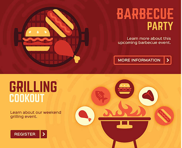 barbecue cookout grilling banners - grilling stock illustrations
