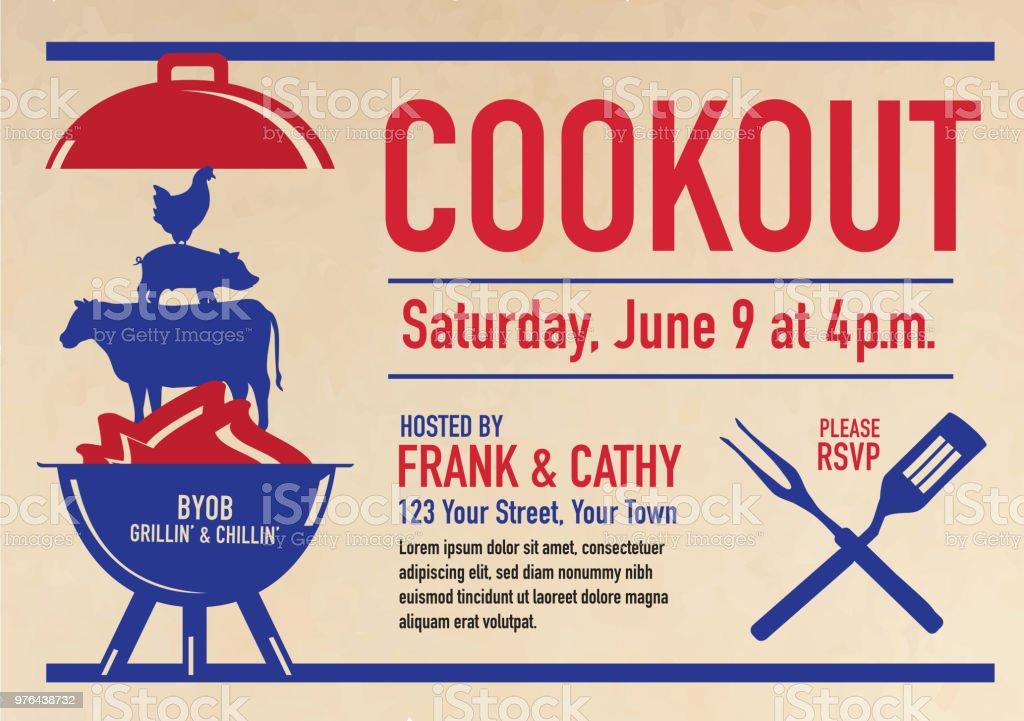 Barbecue Cookout invitation design template vector art illustration