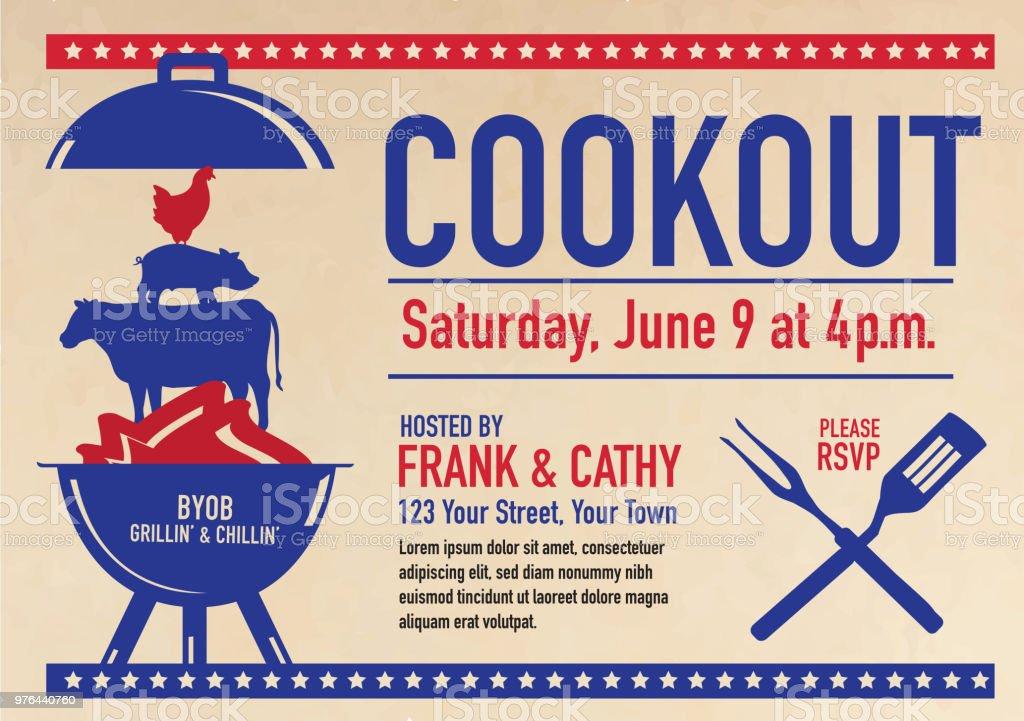 barbecue cookout invitation design template stock vector art more