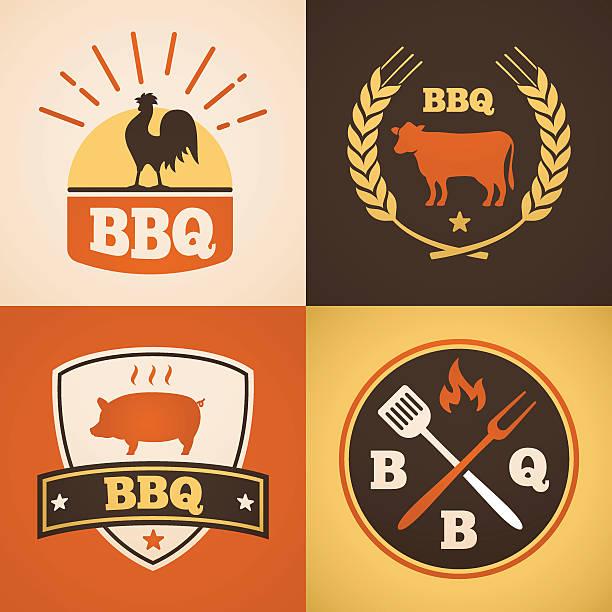 barbecue-design - schweinebraten stock-grafiken, -clipart, -cartoons und -symbole