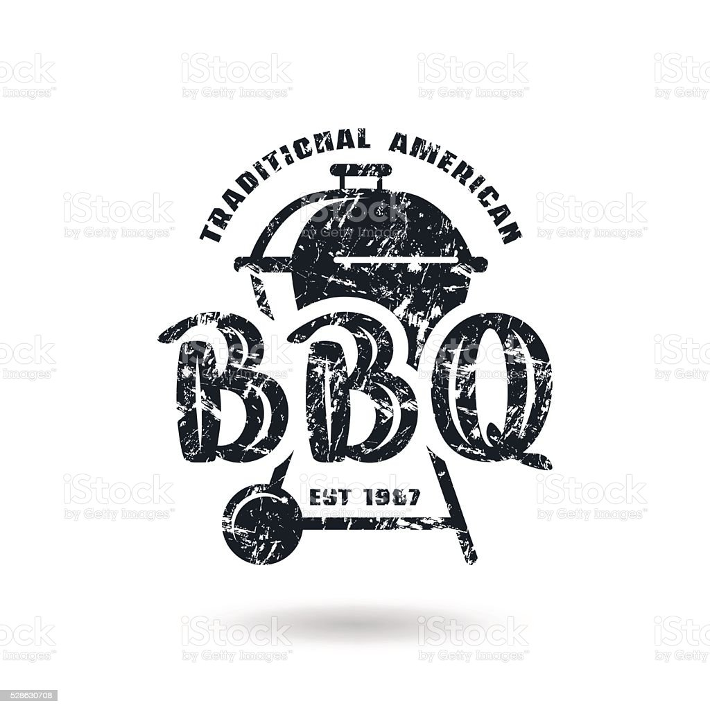 Barbecue emblem with shabby texture vector art illustration