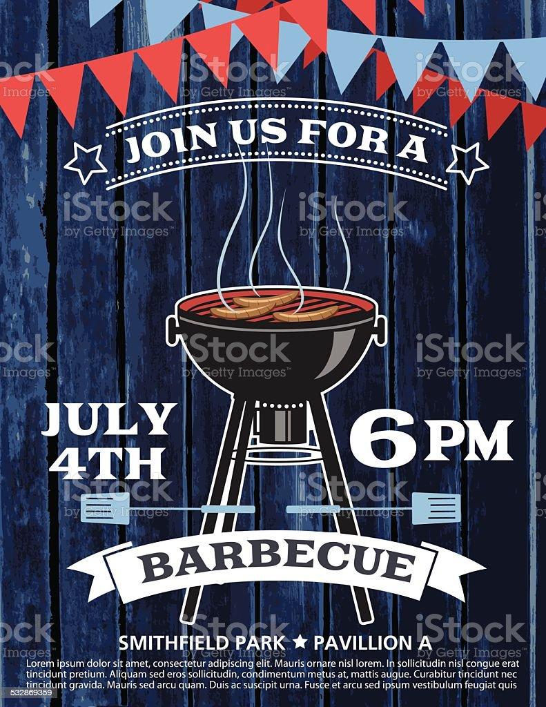 BBQ Barbecue Event Invitation Template vector art illustration