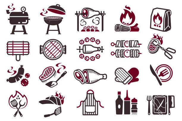 illustrations, cliparts, dessins animés et icônes de symbole de cuisson de combat de barbecue. - barbecue