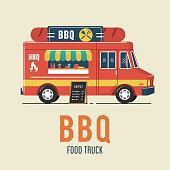 BBQ food truck illustration