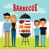 cartoon happy people and barbecue with grilled food over landscape background. colorful design. vector illustration