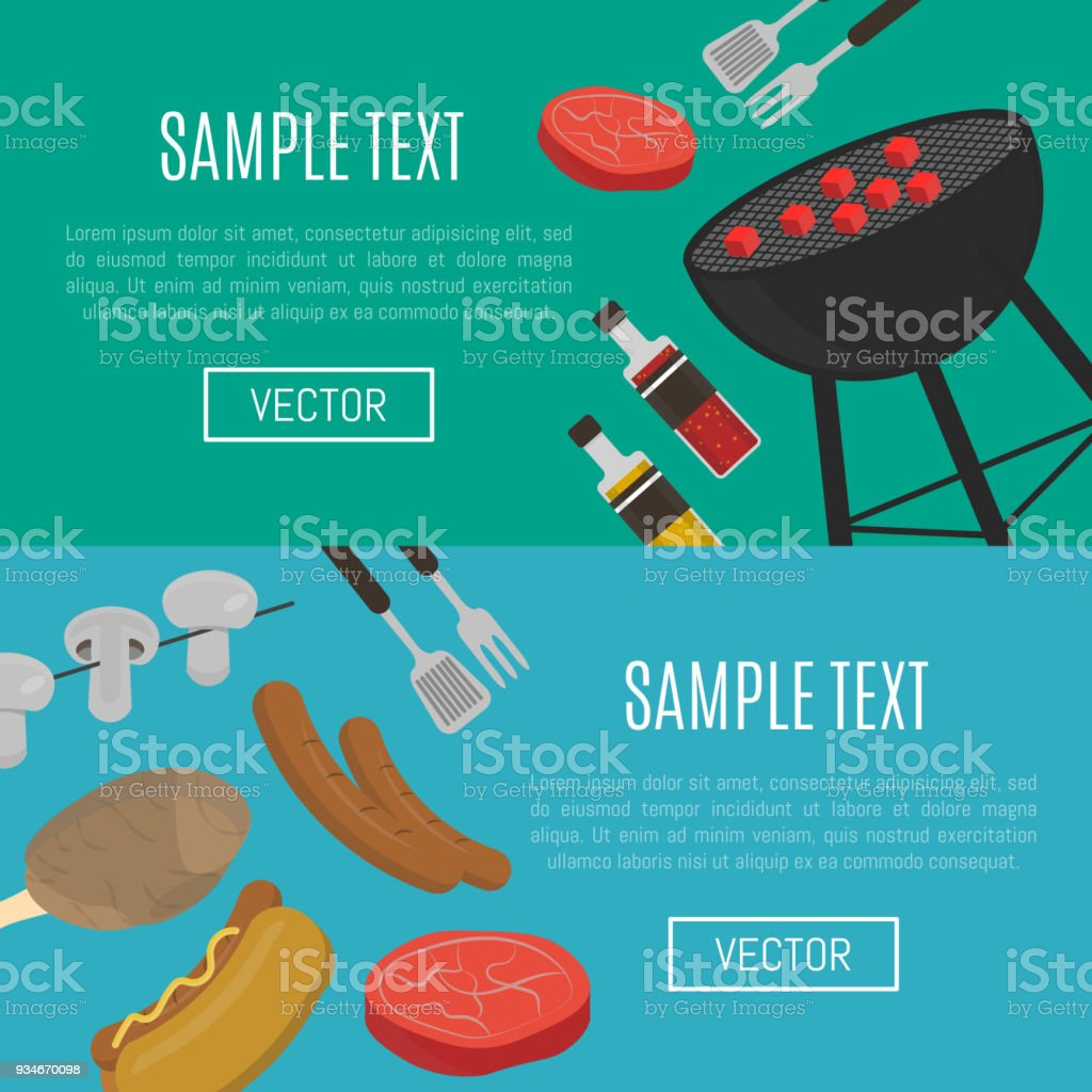 Barbecuegrillhorizontale Websitevorlagen Stock Vektor Art und mehr ...