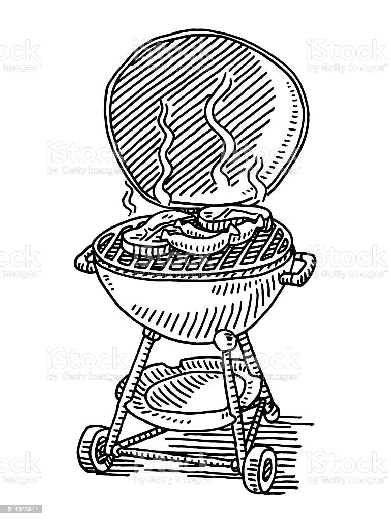 barbecue grill hot steak sausage drawing stock illustration download image now istock https www istockphoto com vector barbecue grill hot steak sausage drawing gm514323941 48164304