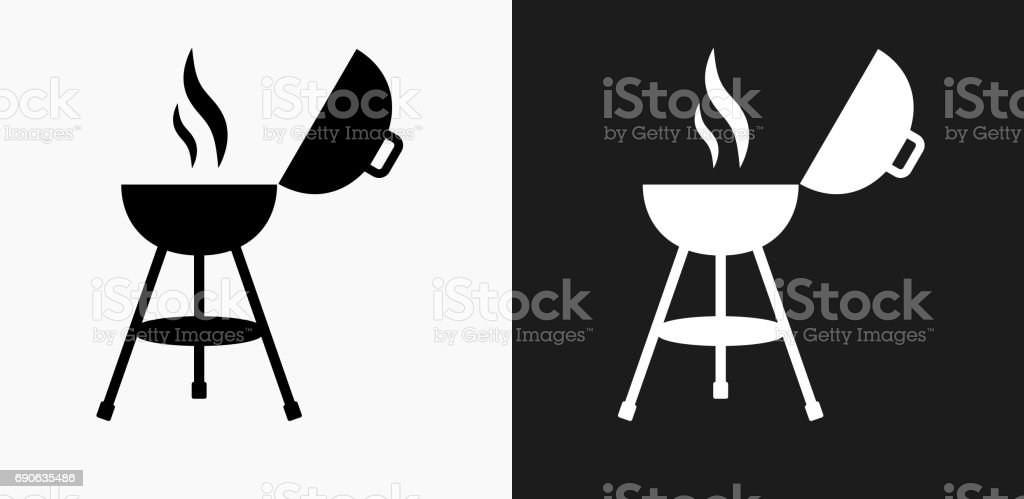 Barbecue Grill Icon on Black and White Vector Backgrounds vector art illustration