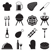 Barbecue grill icon set isolated on white background. BBQ symbols. Vector illustration.