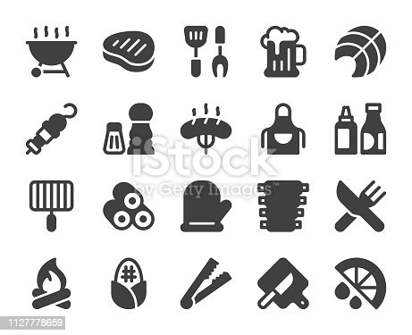 Barbecue Grill Icons Vector EPS File.