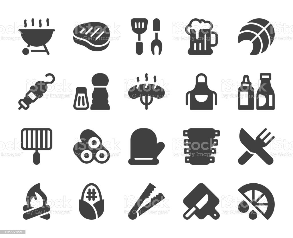 Barbecue Grill - Icons vector art illustration
