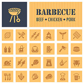 Set of Barbecue Related Vector Icons
