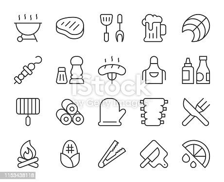 Barbecue Grill Light Line Icons Vector EPS File.