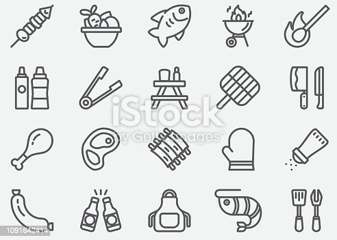 BBQ Barbecue Grill Line Icons