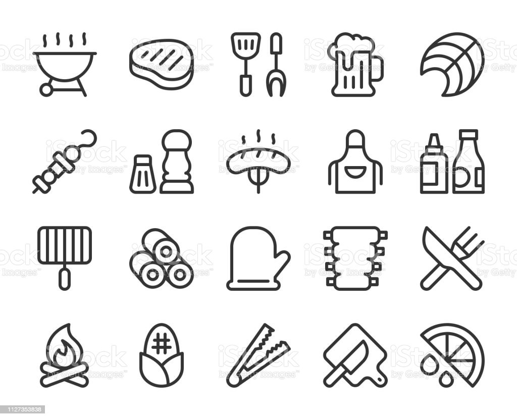 Barbecue Grill - Line Icons vector art illustration