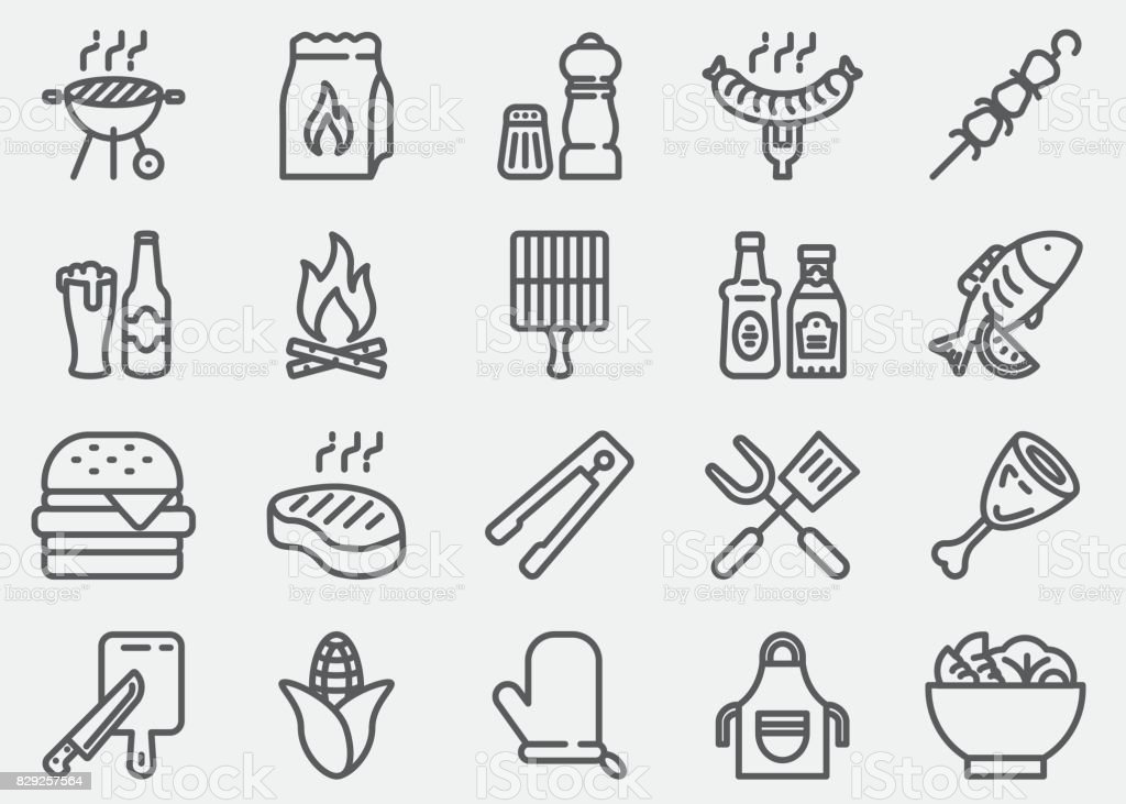 BBQ-Barbecue Grill lijn pictogrammen​​vectorkunst illustratie