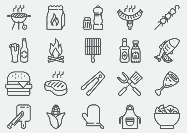 illustrazioni stock, clip art, cartoni animati e icone di tendenza di bbq barbecue grill line icons - cucina domestica