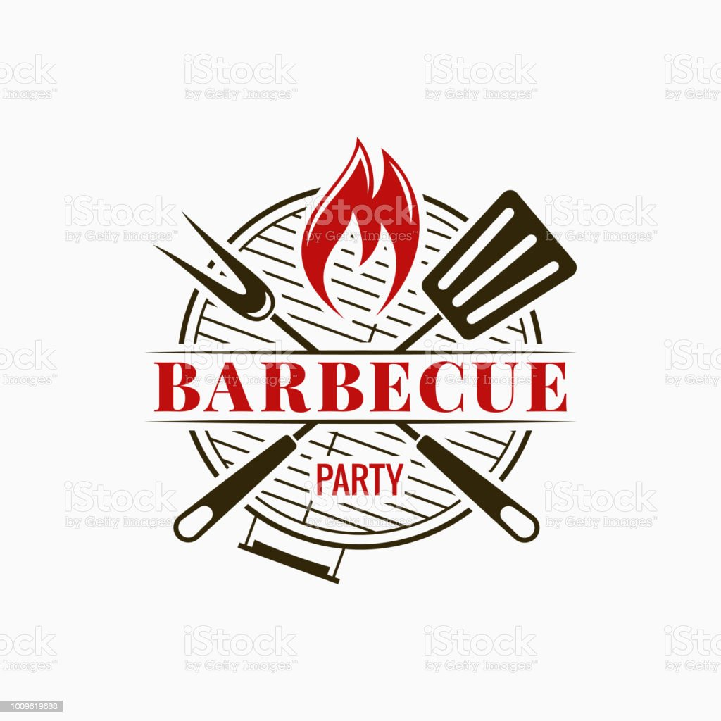 Barbecue grill logo. Bbq party with fire flame on white background Barbecue grill logo. Bbq party with fire flame on white background 8 eps Badge stock vector