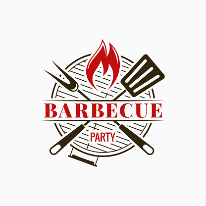 Barbecue Grill Logo Bbq Party With Fire Flame On White Background Stock Illustration - Download Image Now