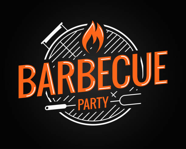illustrations, cliparts, dessins animés et icônes de barbecue grill logo sur fond noir - barbecue