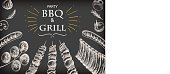 BBQ barbecue grill meat drawing food menu party design retro