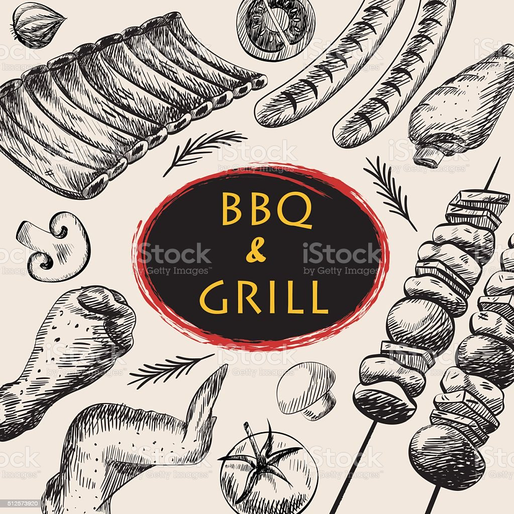 BBQ barbecue grill meat drawing food menu party design retro vector art illustration