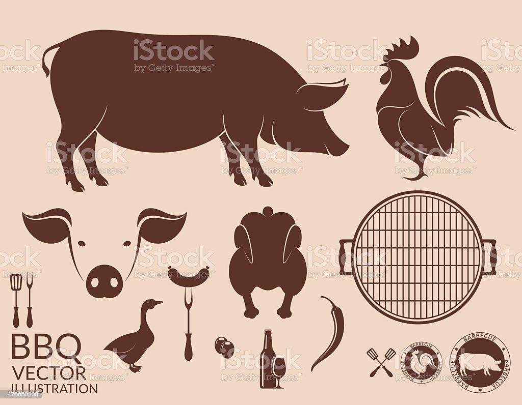 Barbecue grill. Pig. Chicken vector art illustration