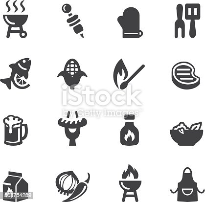 Barbecue Grill Silhouette icons