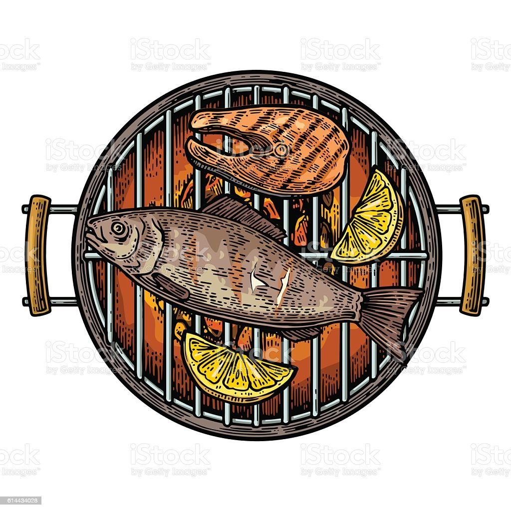 Barbecue grill top view with charcoal, fish steak and lemon vector art illustration