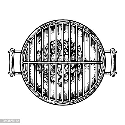Barbecue grill top view with charcoal. Vintage black vector engraving illustration. Isolated on white background.