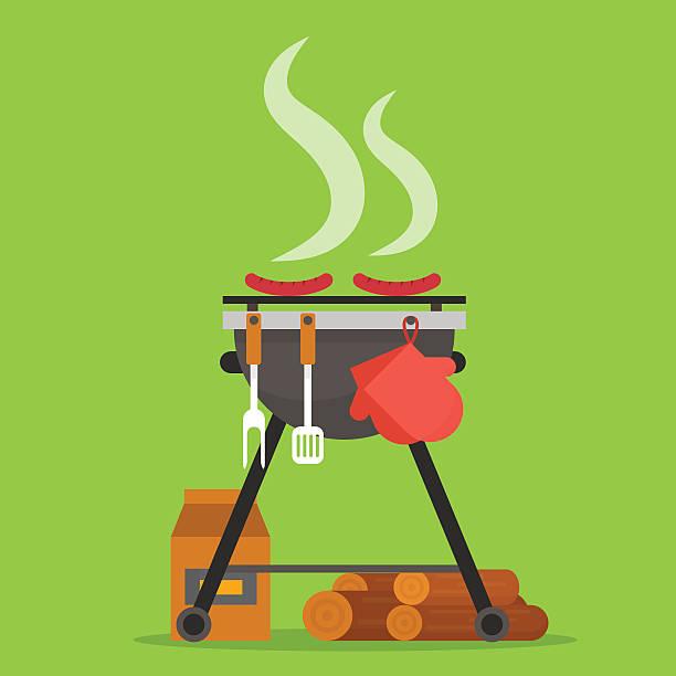 ilustraciones, imágenes clip art, dibujos animados e iconos de stock de barbacoa. herramientas y parrilla a leña. - fiesta en el jardín