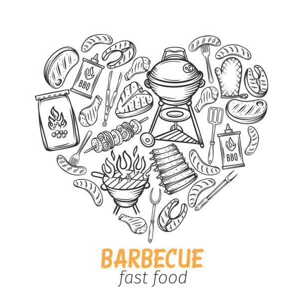 illustrazioni stock, clip art, cartoni animati e icone di tendenza di striscione disegnata a mano barbecue - banchi di pesci