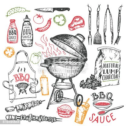 Barbecue hand drawn elements set in sketch style isolated on white background. Tools and foods for bbq party