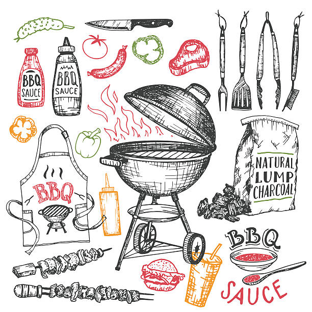 illustrations, cliparts, dessins animés et icônes de barbecue ensemble dessiné à la main des éléments seul sur blanc - barbecue