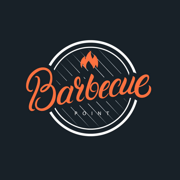 barbecue hand written lettering logo - restaurant logos stock illustrations, clip art, cartoons, & icons