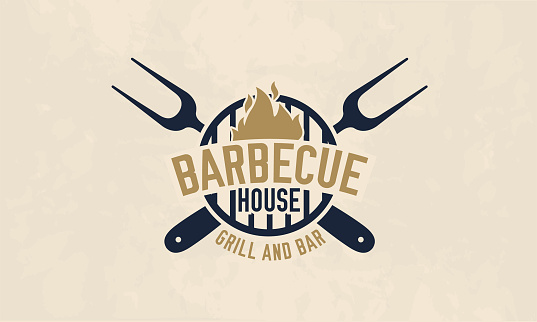 Barbecue house logo template. BBQ, barbecue, grill and bar logo, label, badge. Vector illustratin