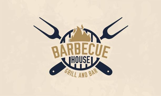 szablon logo domu grilla. grill, grill, grill i logo baru, etykieta, plakietka. wektor ilustruje - barbecue stock illustrations