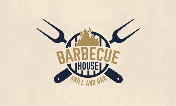 illustrations, cliparts, dessins animés et icônes de modèle de logo de maison de barbecue. logo barbecue, barbecue, grill et bar, étiquette, insigne. illustration vectorielle - barbecue