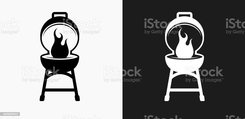 Barbecue Icon on Black and White Vector Backgrounds vector art illustration